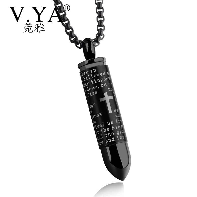 V.Ya Punk Men Necklace Bullet Pendants Stainless Steel Necklaces Cross Chain English Bible Christian Rock Male Jewelry Drop Ship