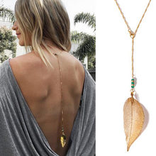 Sale Women Long Necklace Body Sexy Chain Bare Back Gold Silver Leaf Crystal Pendant Chain Necklace Backdrop Beach Body jewelry(China)