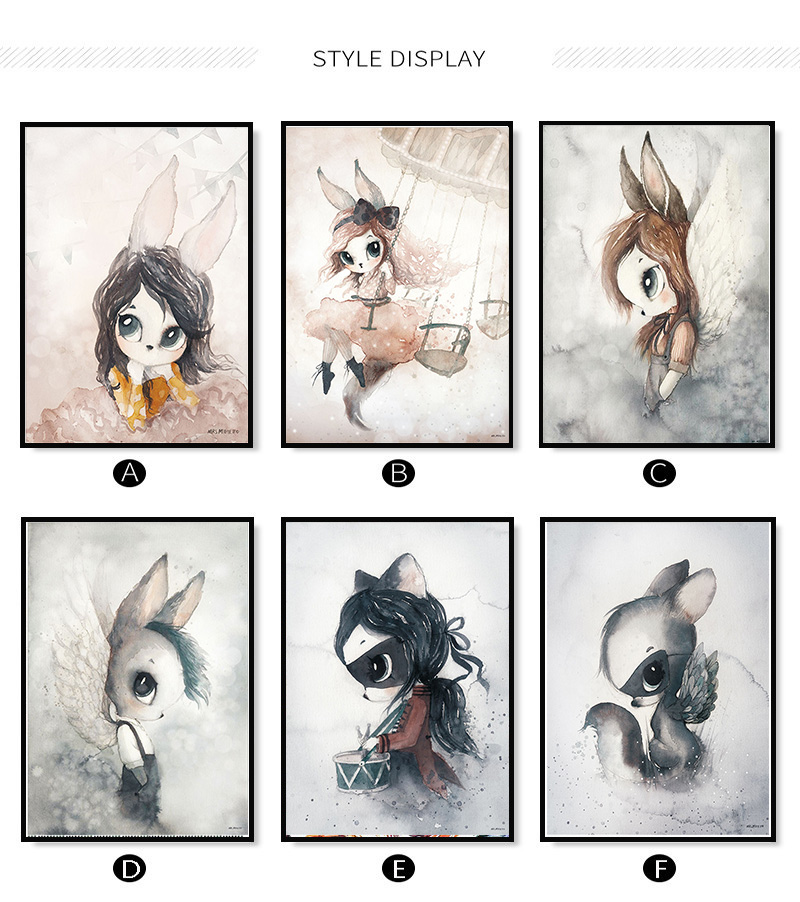 HTB1EcSTaoLrK1Rjy0Fjq6zYXFXaJ Home Decor Nordic Canvas Painting Wall Art Rabbit Girl Animal Abstract Watercolor Print Kid Bedroom Living Room Poster Picture