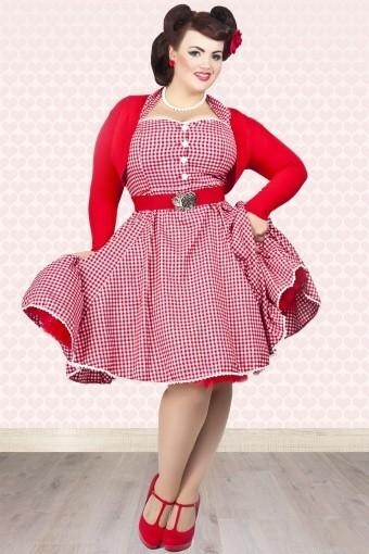 40 summer women vintage 60s gingham pinup swing halter dress in red ... 961849e50e56
