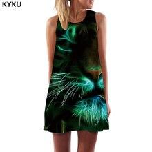 KYKU Brand Tiger Dress Women Black Mini Animal Short Harajuku Ladies Dresses Gothic Vestido Sexy Womens Clothing Casual