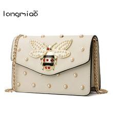 faced587e0a1d2 longmiao Cute Little Bee Crossbody Bags for Women Luxury Designer  Rhinestones Studded Pearl Summer Girls Messenger