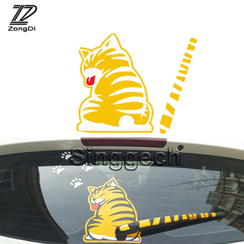 ZD Car Styling Rear Window Wiper Decals Cat Stickers For Audi A3 A1 Q3 Q5 Q7 BMW F20 E81 E87 X5 E53 E70 X1 X3 X6 E71 Accessories image