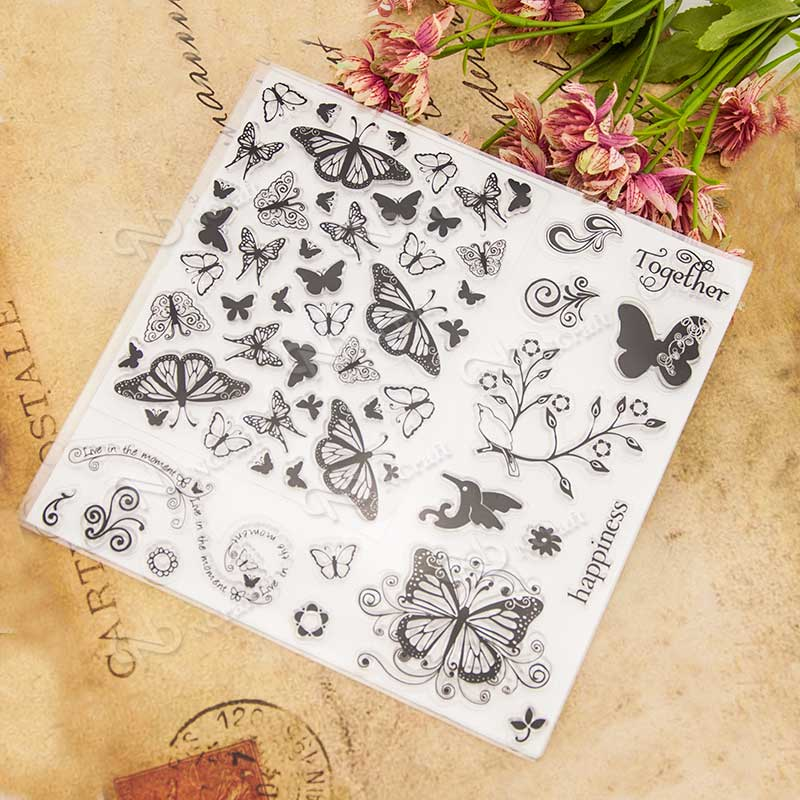 butterfly design Scrapbook DIY photo Album paper cards rubber stamp clear stamp transparent stamp for christmas gift letter phrase design scrapbook diy photo album paper cards silicone clear stamp transparent stamp for christmas gift tm 006