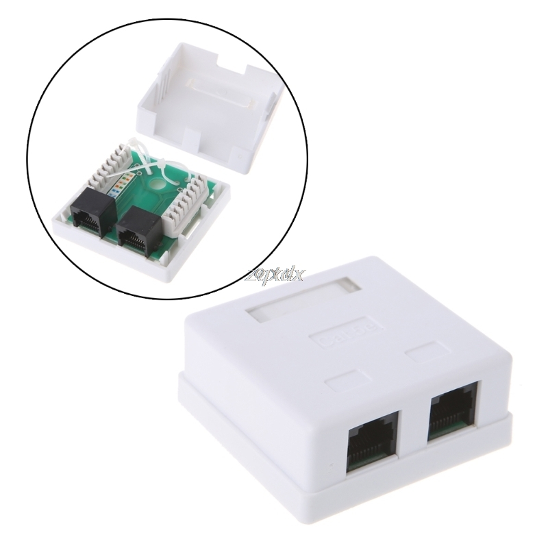 RJ45 Junction Box CAT5e Network Connector 2 Port Desktop Extension Cable Box Z09 Drop Ship