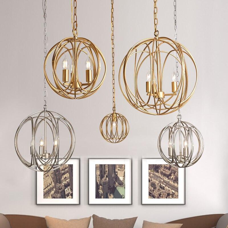 Американский творческий Стекло шар подвесные светильники железный обруч Повесьте лампы для Спальня кафе ресторана бара Освещение в помеще
