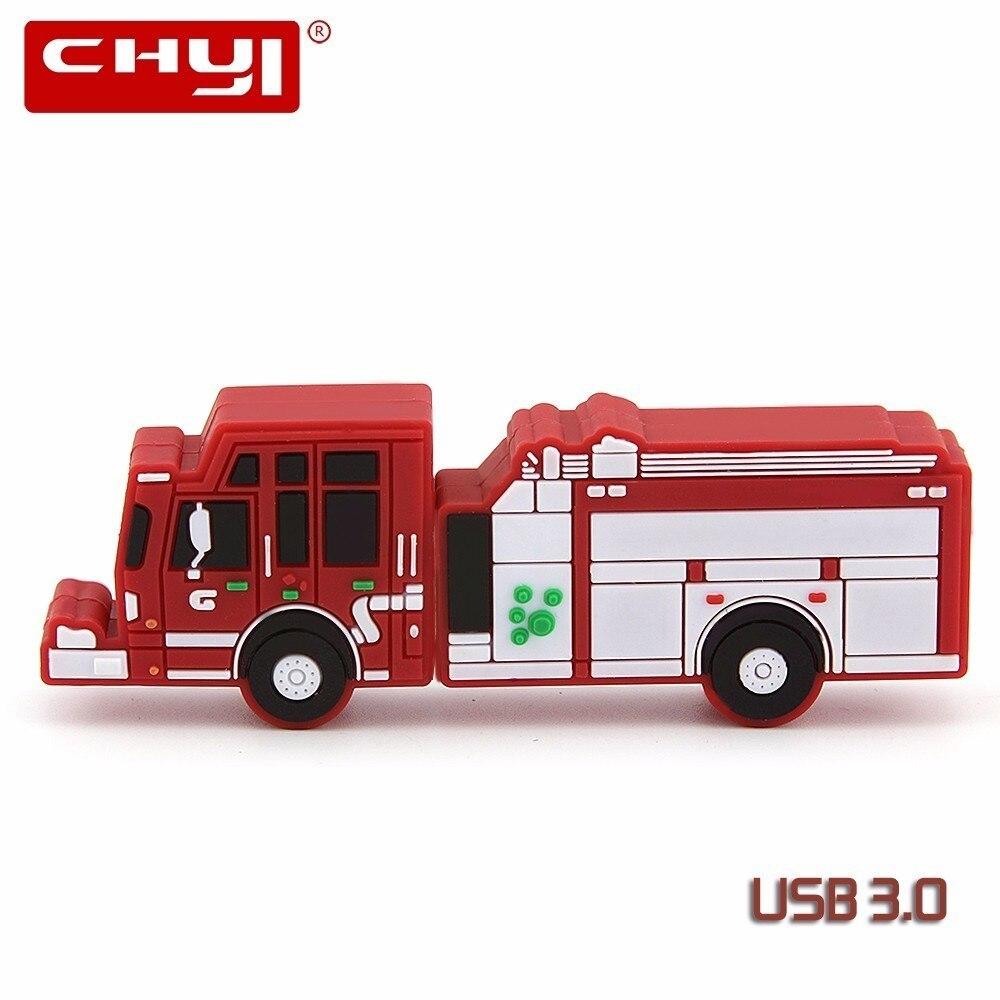 CHYI Cool Fire Truck Pendrive 64GB Cartoon Car Model USB 3.0 Flash Drive 8GB 16GB Memory USB Stick Creative Pen Driver 32GB Gift