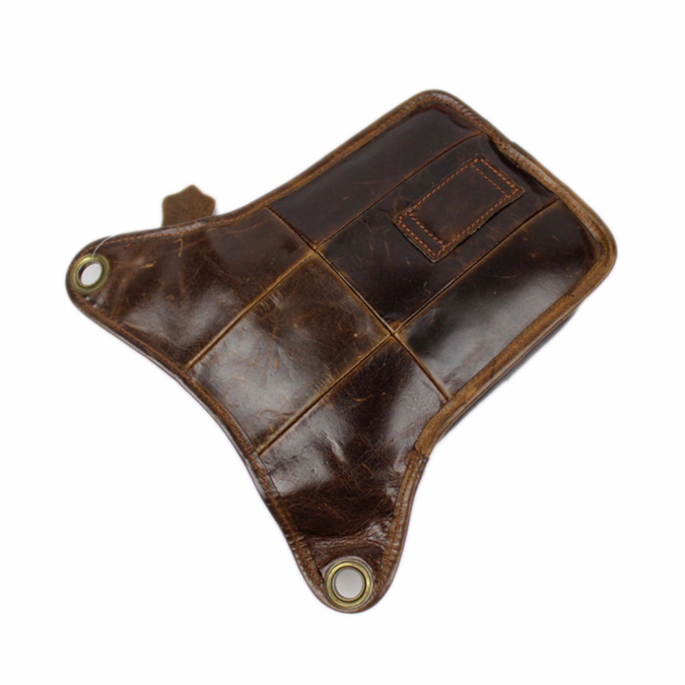 Mænds ægte læder drop ben taske cross body messenger skulder fanny - Bæltetasker - Foto 5