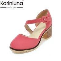 KarinLuna high quality 2018 Large Size 33 43 fashion Mary Janes Square high Heels Women Shoes Woman blue Black Girls Date Pumps