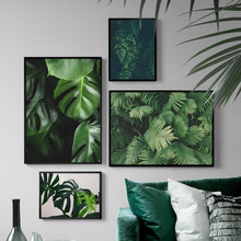 Fresh Green Leaves Tropical Plant Wall Art Print Canvas Painting Nordic Posters And Prints Pictures For Living Room Decor