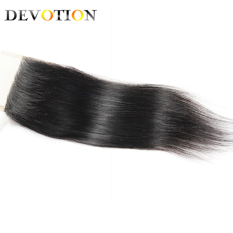 Devotion Hair Brazilian Straight Lace Closure 4x4 Lace CLosure Free Part 100% Human Hair Natural Color Non Remy Hair 8-20