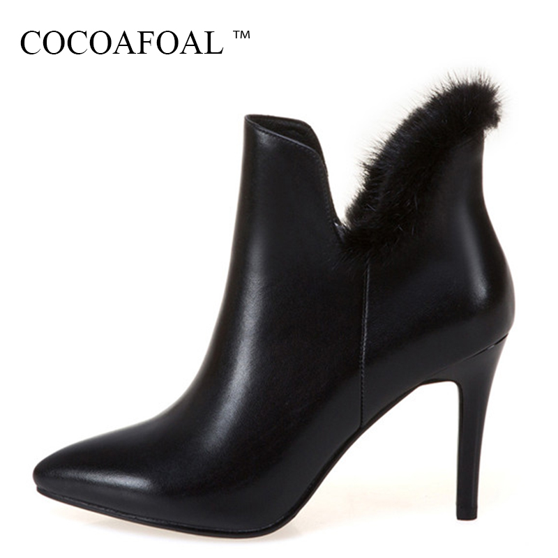 COCOAFOAL Genuine Leather Riding Equestrian Boots Plus Size 33 43 Black Martin Boots Woman Winter White High Heeled Ankle Boots