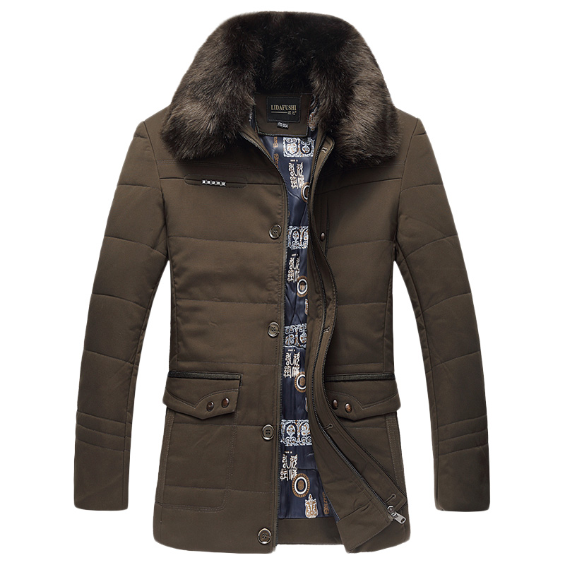 Fashion Men Winter Jackets Casual Thick Down Cotton Padded Coats Warm Outerwear Long Parka Coat ...