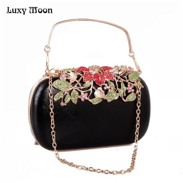 Rhinestone flower Evening Clutch Bags full dress Wedding Purse and Handbag  For Women Day Clutch Chain a87d38b695a72