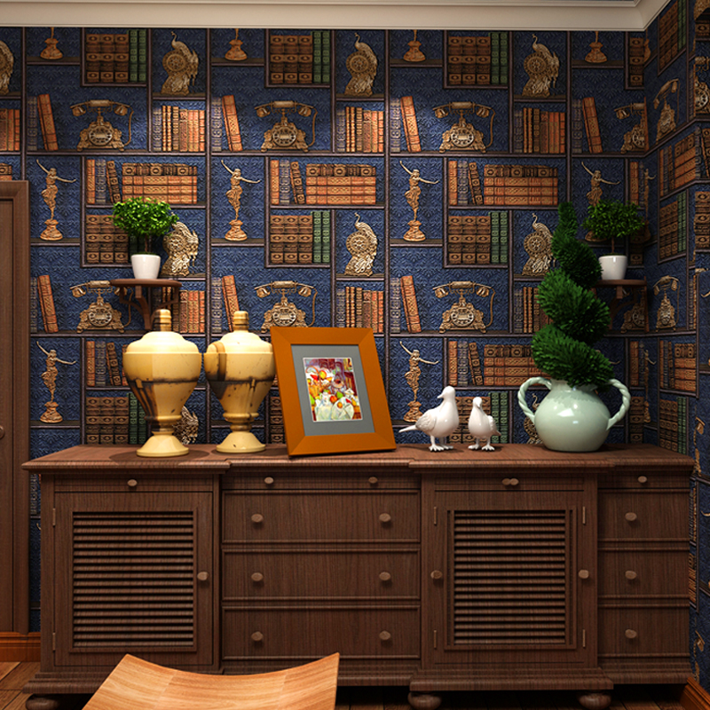 3D Creative Bookshelf Library Study Wallpaper Chinese Style Vintage Cafe Restaurant Living Room TV Backdrop Wall