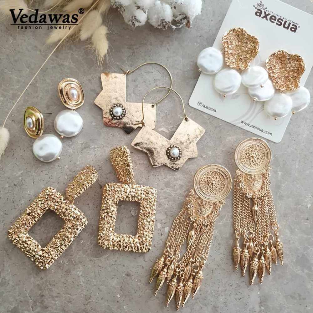 Vedawas ZA Pearls Statement Drop Dangle Earrings for Women Pendientes Jewelry Accessories Handmade Earring Party Bijoux xg2855