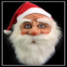Free shipping Funny Super soft Latex The Santa Claus Mask Wig Beard Costume Christmas Party Holiday Supply Gifts Toy Full Face