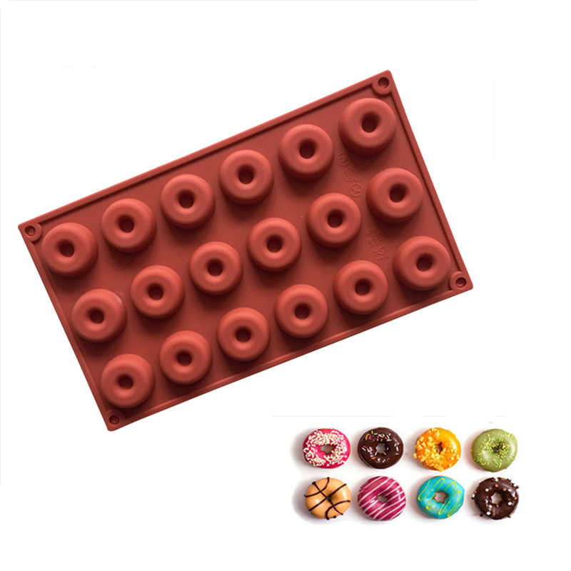 18 Cavity Silicone Mini Donuts Mold Chocolate Biscuit Cake Cupcake Molds Doughnut Mould Home Baking Dessert Mold 29 8 17 3 1 4cm Cake Molds Aliexpress