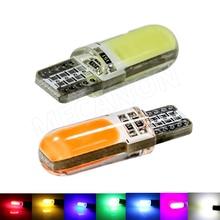 100 pcs T10 W5W 12 chips COB silicone CONDUZIU a luz interior do carro auto lâmpada de Sinal 194 501 Side Wedge estacionamento lâmpada para car styling 12 v