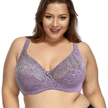 Womens Lager Bosom Perspective Lace Bras Underwired Sexy Lingerie Embroidery Floral Bralette BH Plus Size Brassiere B C D DD E F