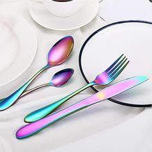 16 PCS /24 PCS Rainbow Colorful Gold-Plated Stainless Steel Cutlery Spoon Four-Piece Set For Hotel Tableware Gift Party Supplies