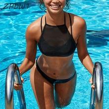 ZPDWT Sexy Mesh Bikini High Neck Swimsuit Black Swimwear 2018 Swimming Suit for Women Bathing Suit Maillot De Bain Femme Plavky