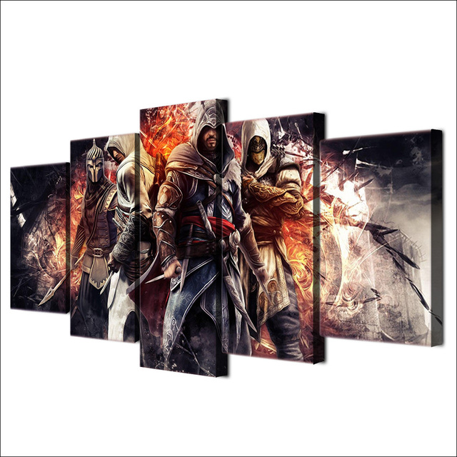 HD Printed Wall Art Modular Canvas Pictures 5 Pieces Game Assassin Creed For Living Room Modern Home Decoration Posters Painting 2