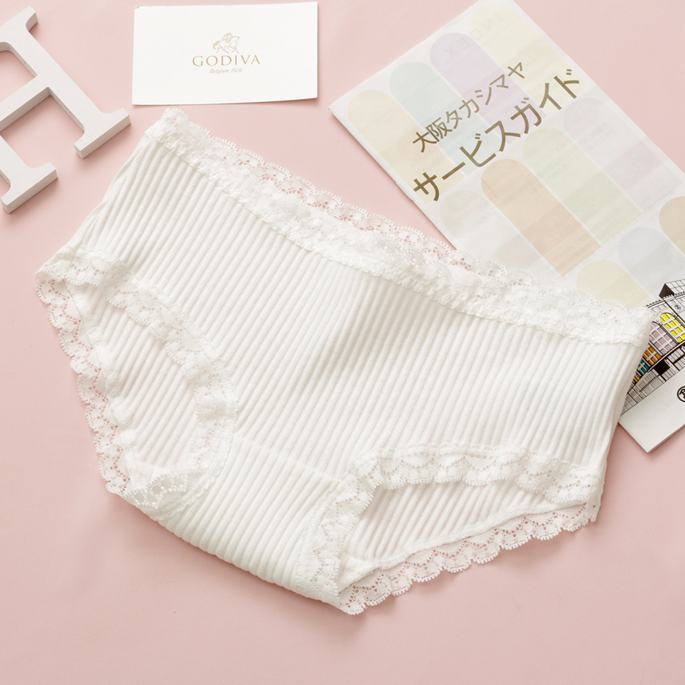 New women panties 2018 comfortable briefs cute lace color striped cotton traceless girl underwear