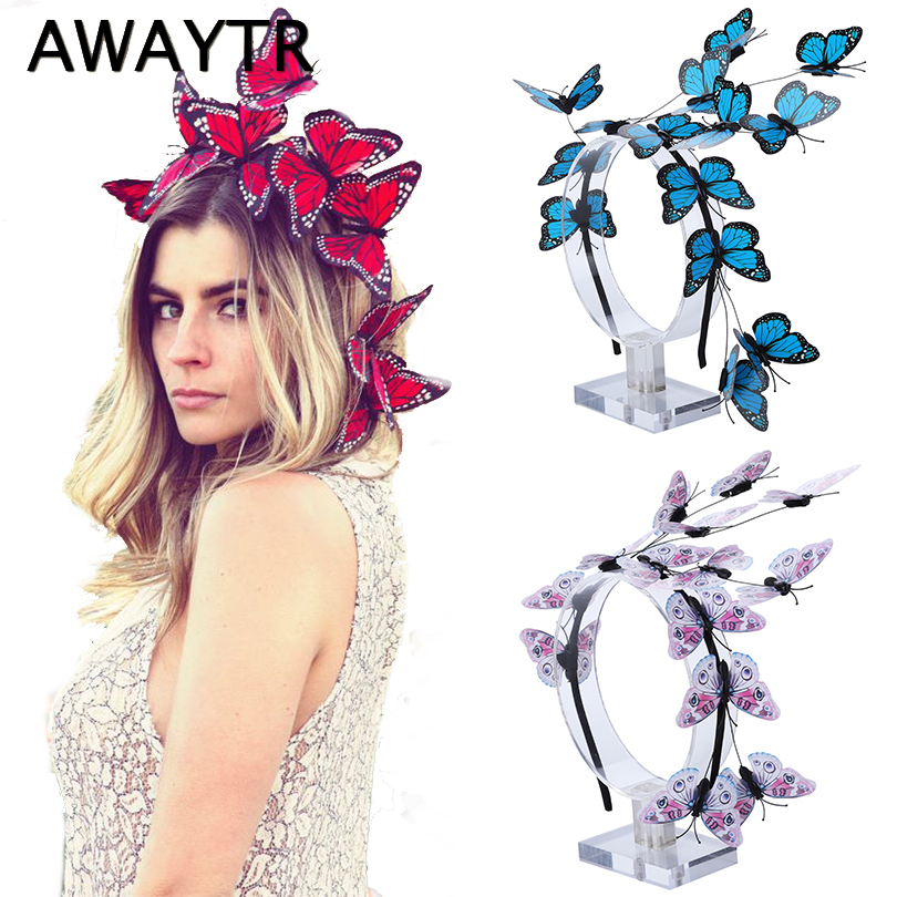 AWAYTR New Bride Butterfly Wedding Hair Accessories Women Headband Luxury Hairband For Girls Butterfly Flower Photo   Headwear