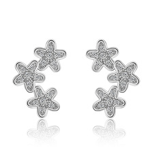 цена на Hot sell fashion little flower shiny crystal female 925 sterling silver ladies`stud earrings jewelry wholesale promotion