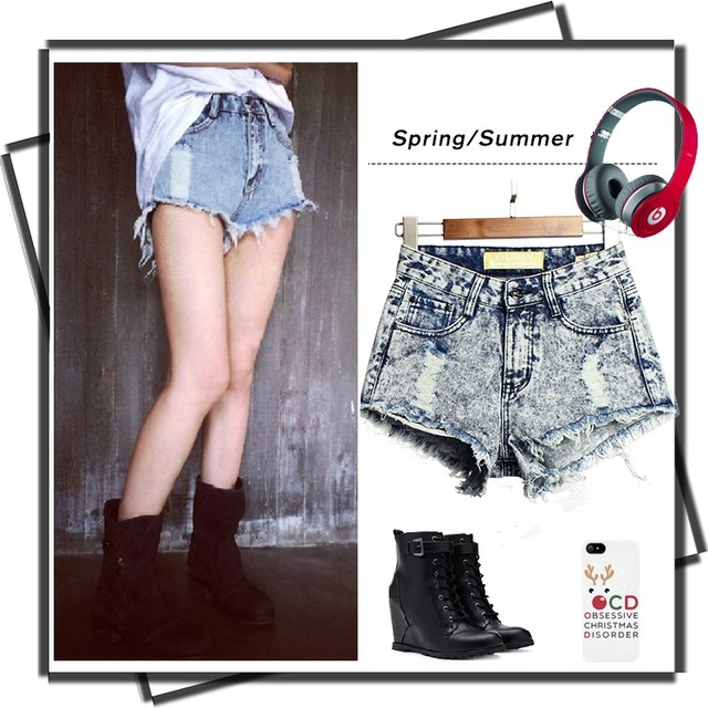 Aliexpress.com : Buy 2016 Ripped distressed high waist shorts ...
