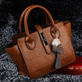 2017 Women Famous Brand Plaid Fur Fox Charms Bag Leather Shoulder Handbags Messenger Bags Tote bolsa feminina borse FR013