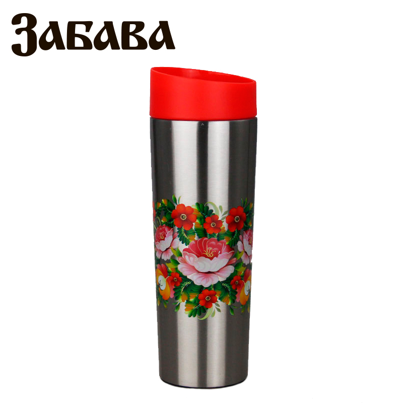 ZABAVA RK-0405M Hot cup 400ml Vacuum Flask Thermose Travel Sports Climb Thermal Pot Insulated Vacuum Bottle Stainless Steel outdoor sports water bottle cup with strap orange 500ml