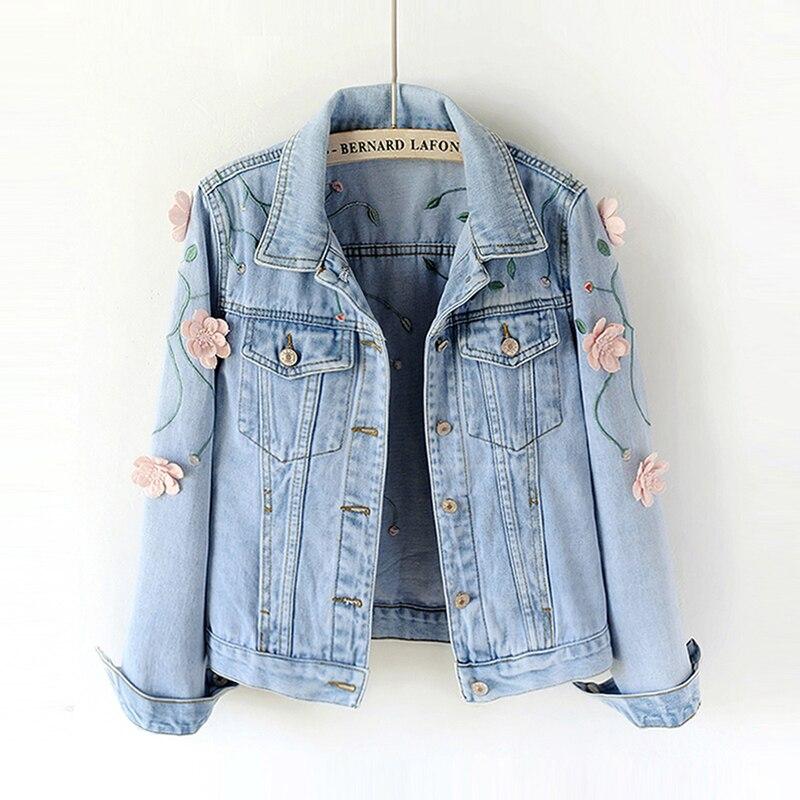 2018 Spring Women Slim Embroidered Three dimensional Flowers Long Sleeve Denim Jacket Women s Jeans Coat