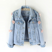 2018 Spring Women Slim Embroidered Three-dimensional Flowers Long Sleeve Denim Jacket Womens Jeans Coat 1666