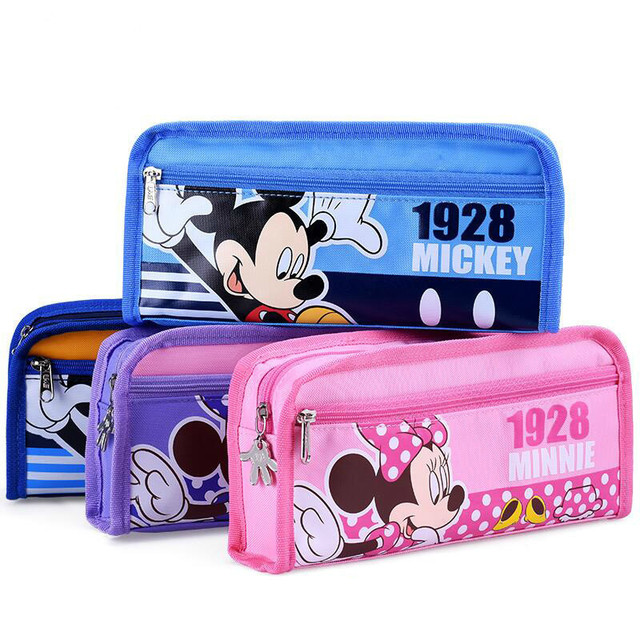 Disney School Pencil Cace Minnie Mickey Mouse Case Cute Kawaii Pen Bag For Students Office