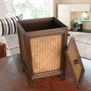 Thai retro rattan paper large with lid living room kitchen home creative Chinese wooden trash can with lid LO116618