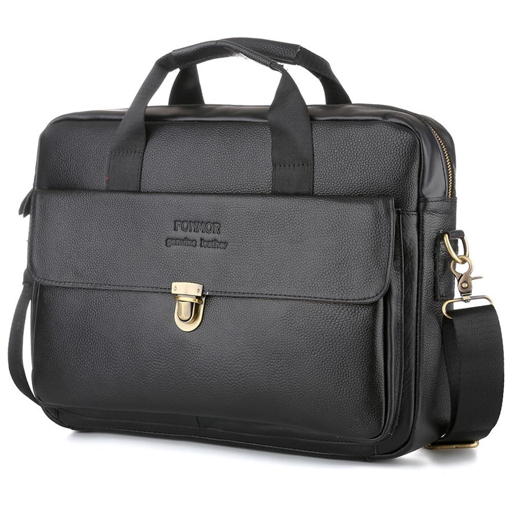 Men Vintage Classic Briefcase High Quality Genuine Leather Laptop HandBags Retro Cowskin Business Crossbody Bag Satchel