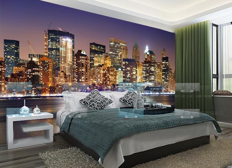 3d gran noche de la ciudad imagen de pared para tv foto for Vinilos pared new york