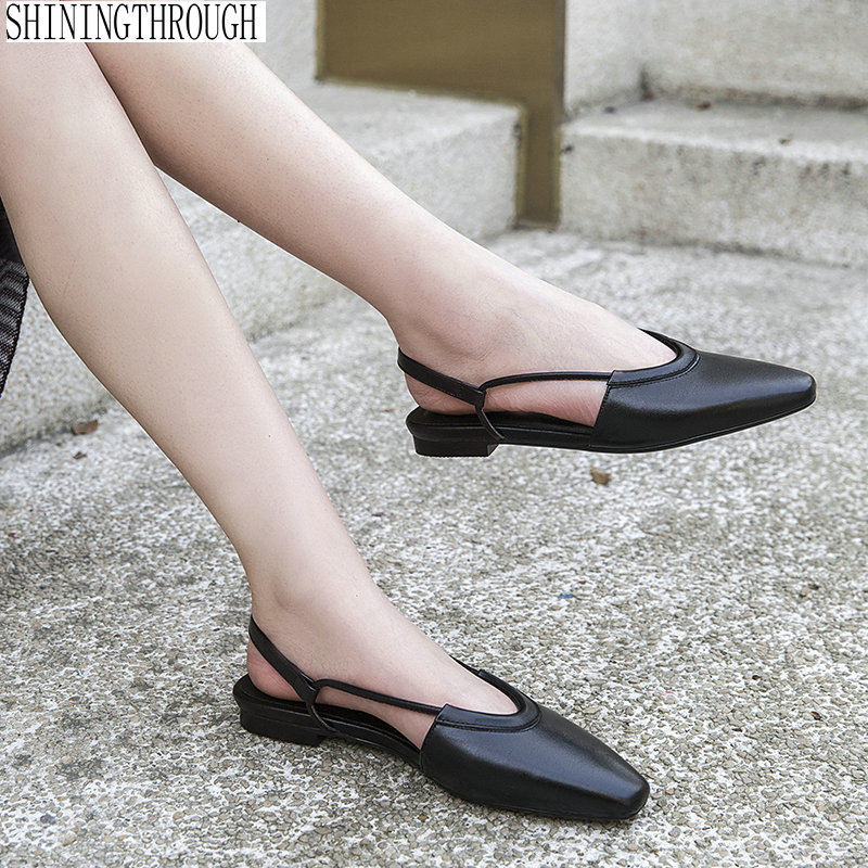 FLAT Women Sandals 100 cow leather ladies casual shoes slingbacks summer shoes woman large size 41