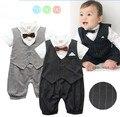 Roupas bebê recém-nascido menino estilo gentleman roupas Crianças verão curto-de mangas compridas meninos smoking preto e cinza gravata listrada Romper