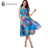 Vintacy 2017 Women Floral Print Dress A Line V Neck Patchwork Women Dress Spring Summer Dress