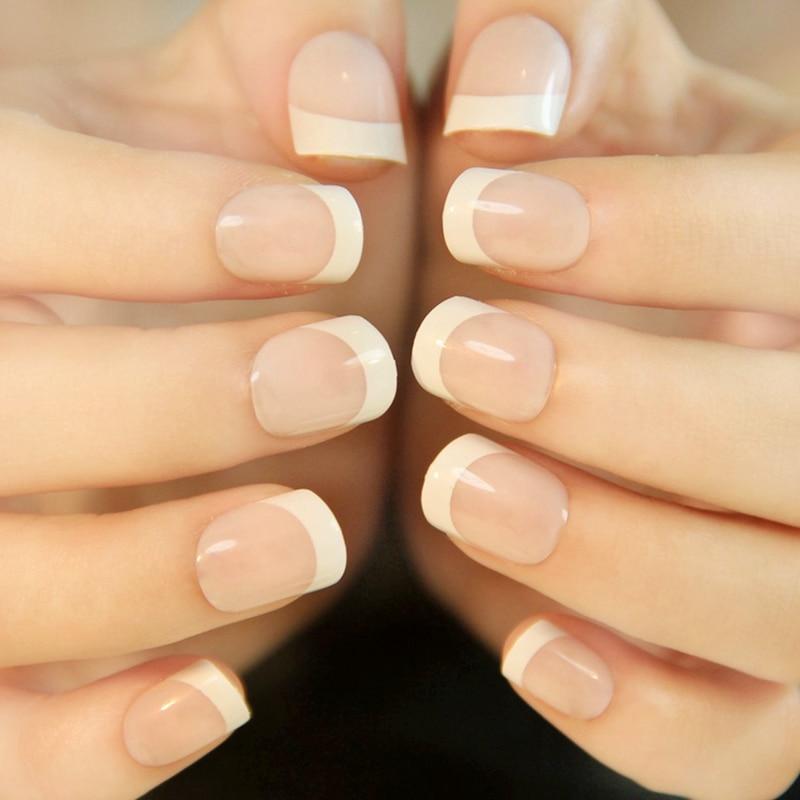 24pcs/kit Shiny Clear Natural French Nail White Squoval