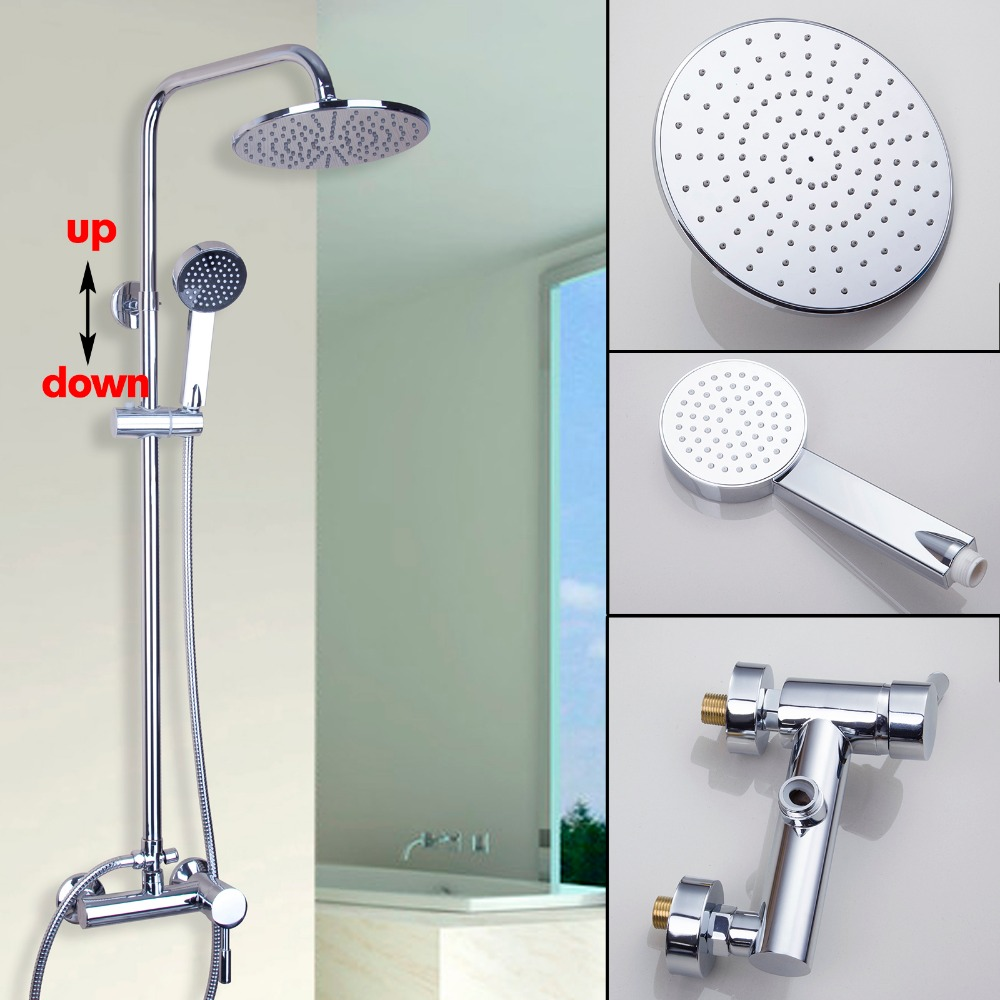 Water Chrome Polished Waterfall Bathroom Shower Sets  Faucet Set Single Handle Mixer Tap Hand Spray Sprinkler Rainfall free shipping polished chrome finish new wall mounted waterfall bathroom bathtub handheld shower tap mixer faucet yt 5333