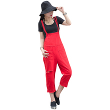 Women Rompers and Jumpsuits For Autumn Ladies Casual Sleeveless Red Loose Hole Denim Overall Jumpsuit Ankle Length