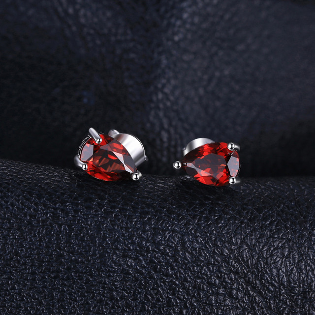 JewelryPalace Water Drop 1.8ct Natural  Garnet Solid 925 Sterling Silver Stud Earrings For Women Fashion Party Fine Jewelry