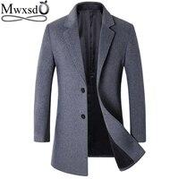 Mwxsd brand winter wool mens jacket and coat men slim fit woolen warm blend jacket male warm Overcoat male brand clothing