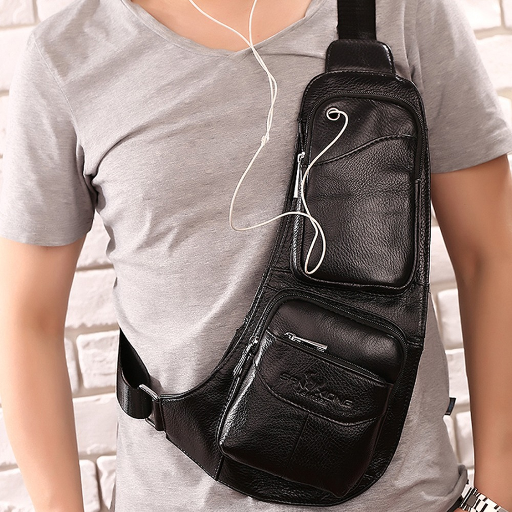 100% cuero genuino Hombres Messenger Cross Body Bag Sling Mochila Riding Famous Real Skin Cowhide Single Shoulder Chest Back Pack