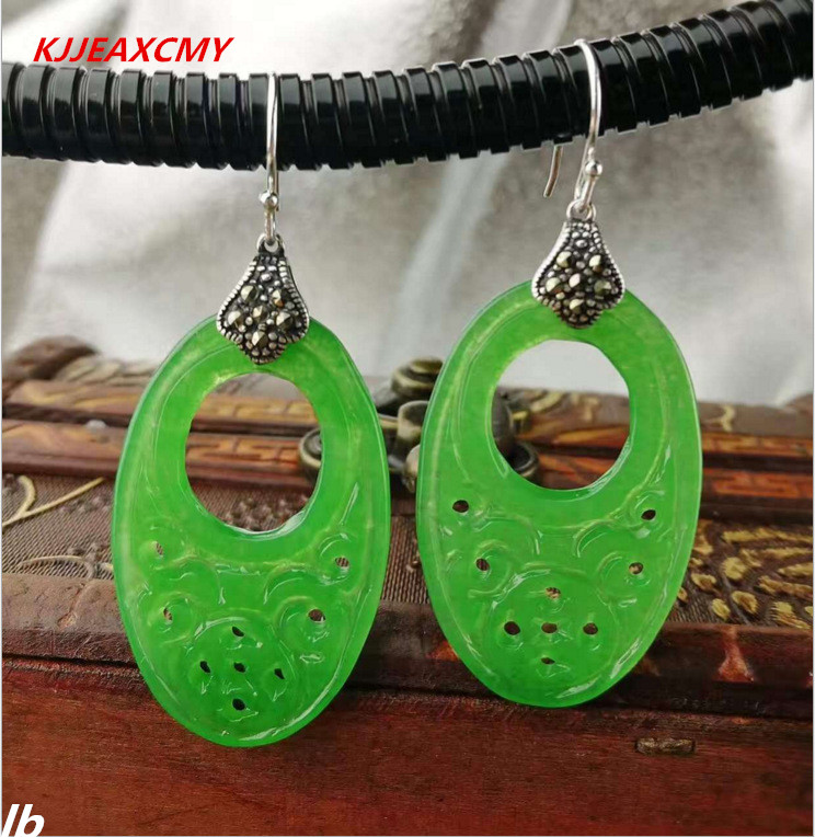 цена на KJJEAXCMY Fine jewelry 925 sterling silver jewelry pattern jade retro earrings pierced classical female models
