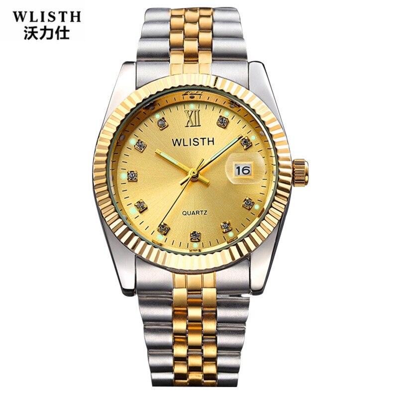 WLISTH Couple Watch Women Men Luxury Crystal Quartz Wrist Watches Lovers Clock Week Date Rose Gold Montre Femme Relogio Feminino